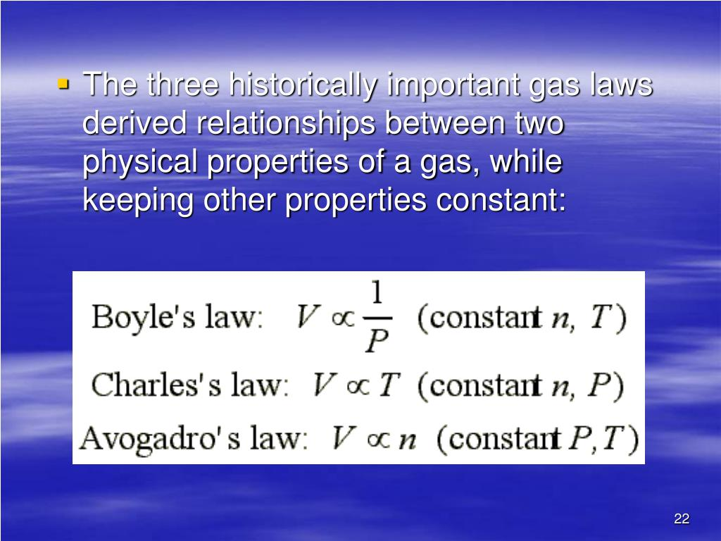 The three historically important gas laws derived relationships between two physical properties of a gas, while keeping other properties constant:
