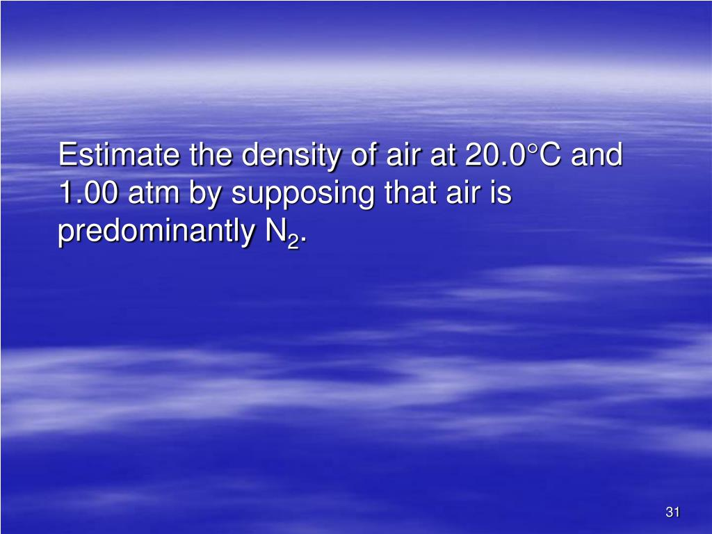 Estimate the density of air at 20.0