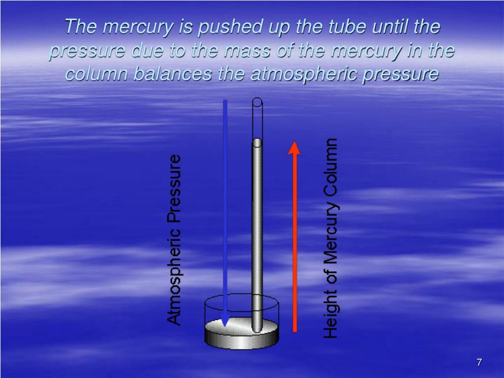 The mercury is pushed up the tube until the pressure due to the mass of the mercury in the column balances the atmospheric pressure