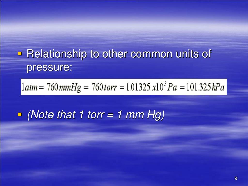 Relationship to other common units of pressure: