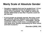 manly scale of absolute gender