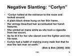 negative slanting corlyn
