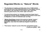 regulated words vs natural words