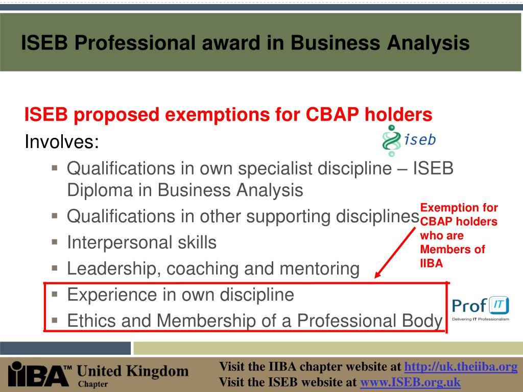 ISEB Professional award in Business Analysis