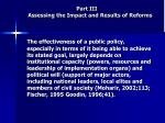 part iii assessing the impact and results of reforms