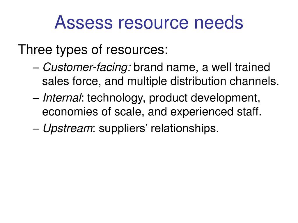 Assess resource needs