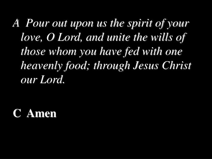 A  Pour out upon us the spirit of your love, O Lord, and unite the wills of those whom you have fed with one heavenly food; through Jesus Christ our Lord.