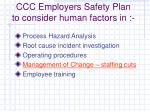 ccc employers safety plan to consider human factors in