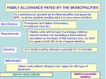 family allowance payed by the municipalities