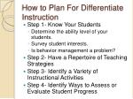 how to plan for differentiate instruction
