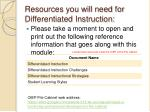 resources you will need for differentiated instruction