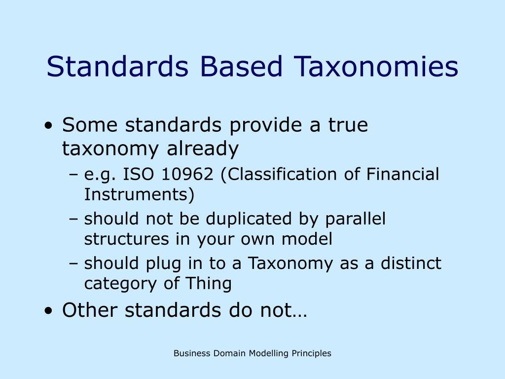 Standards Based Taxonomies