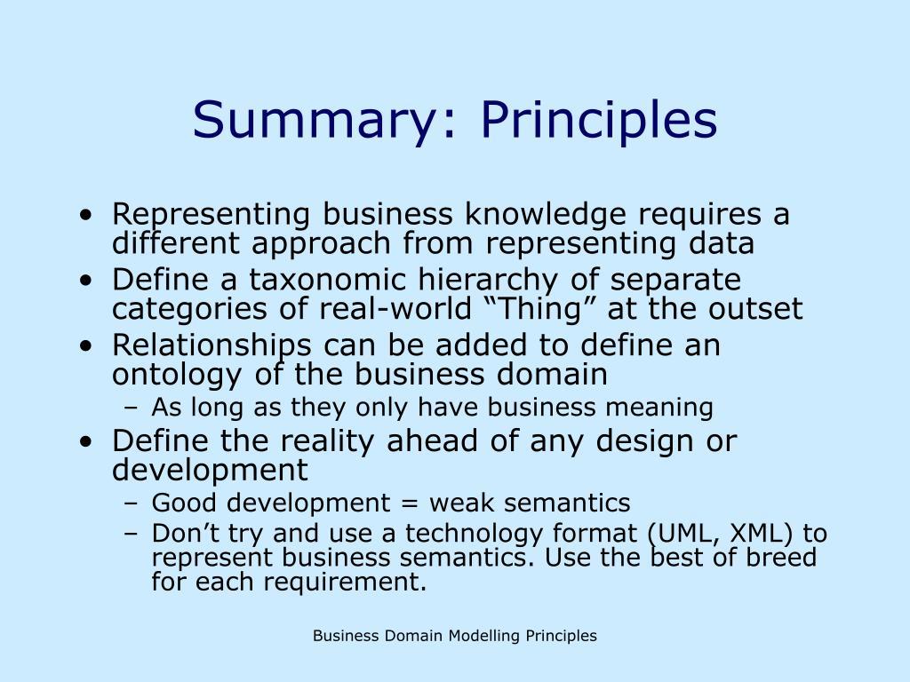 Summary: Principles