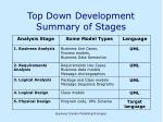top down development summary of stages