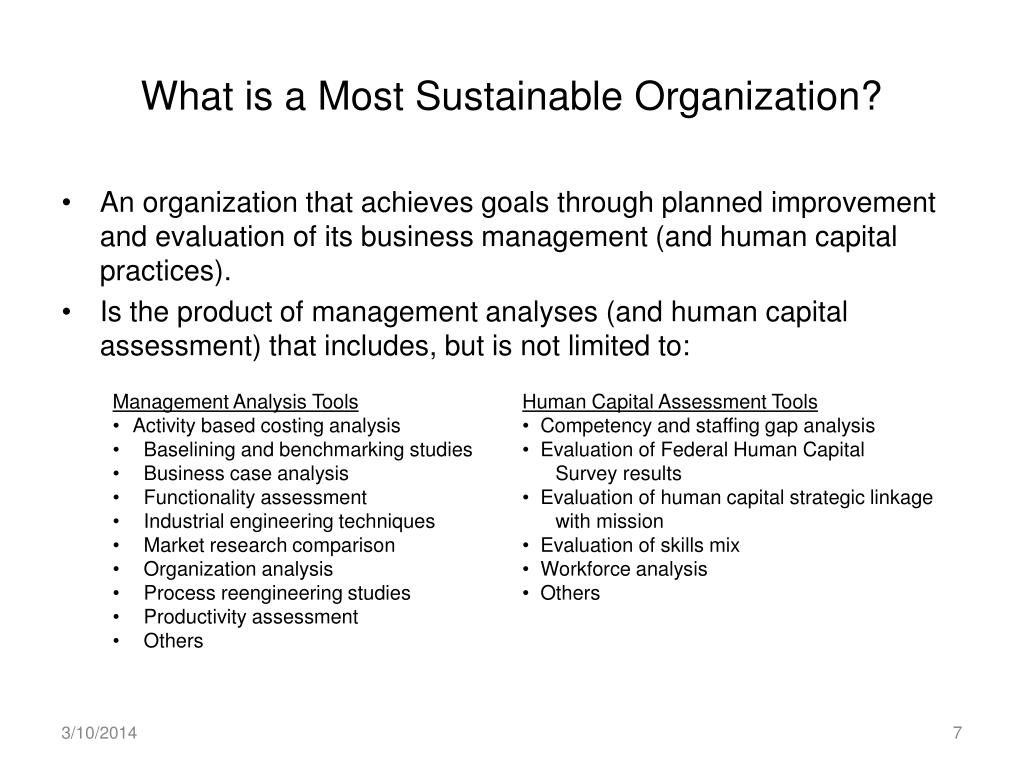 What is a Most Sustainable Organization?