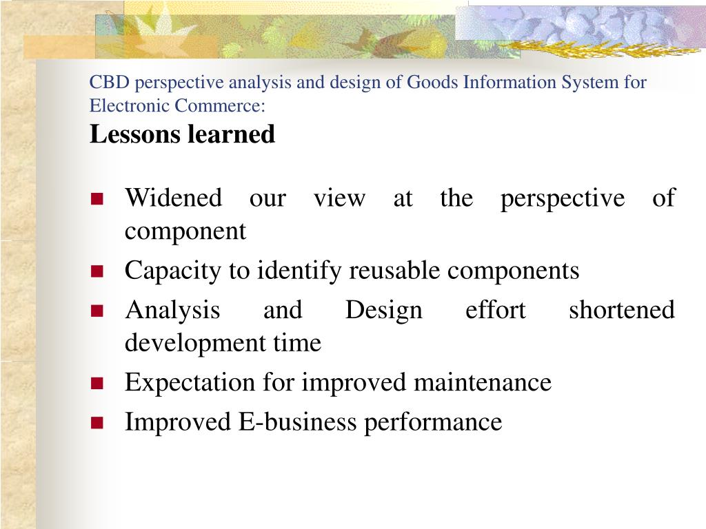 CBD perspective analysis and design of Goods Information System for Electronic Commerce: