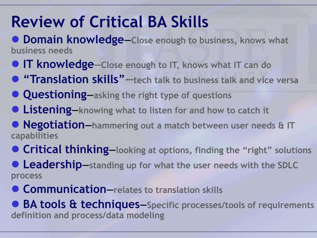 Review of Critical BA Skills