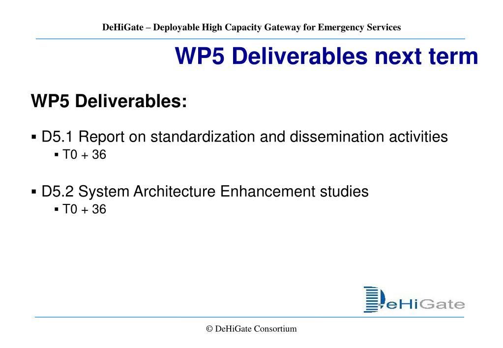 WP5 Deliverables next term