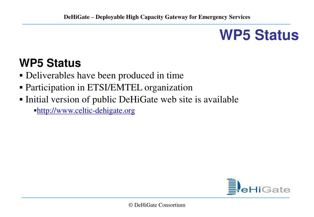 WP5 Status