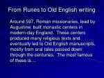 from runes to old english writing