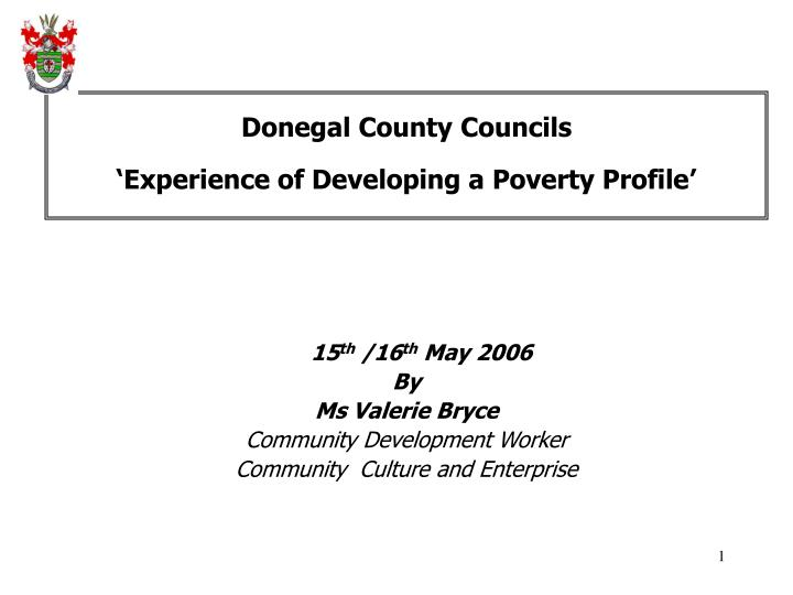 Donegal county councils experience of developing a poverty profile