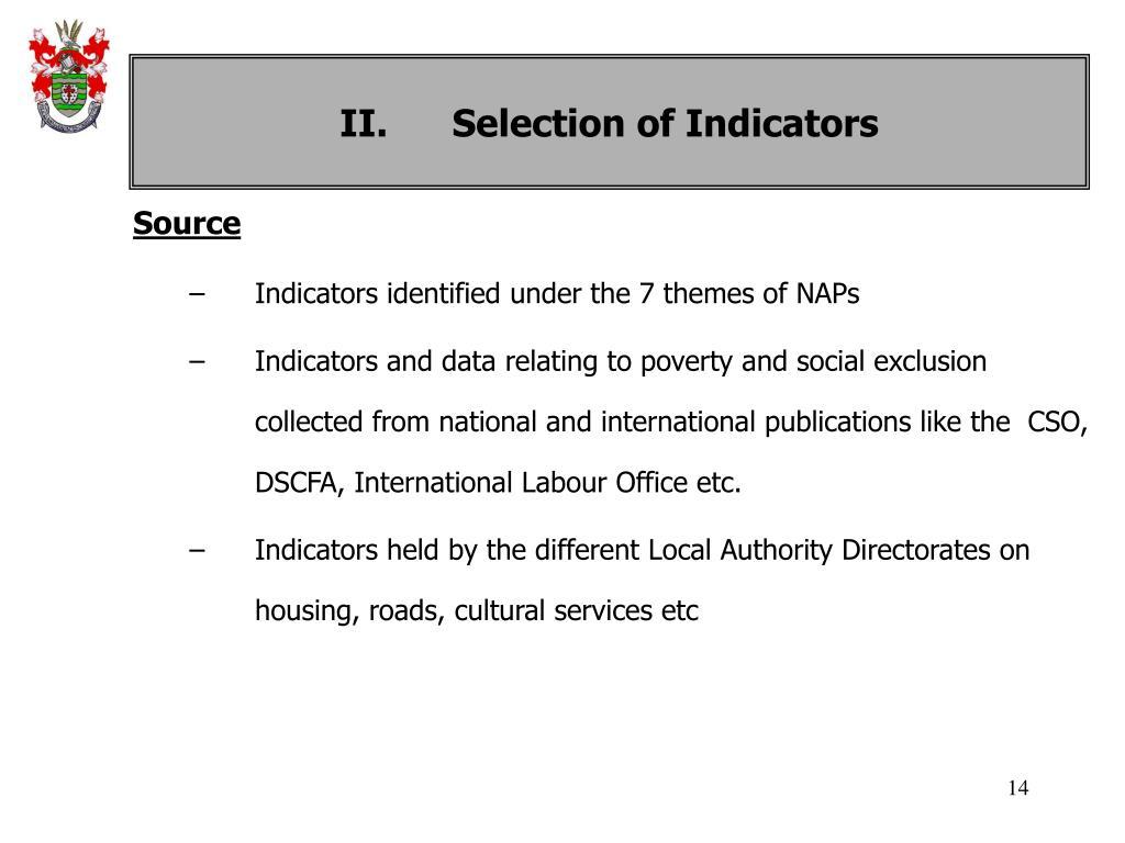II. Selection of Indicators