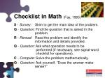 checklist in math fay 1965