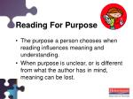reading for purpose
