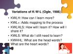 variations of k w l ogle 1986