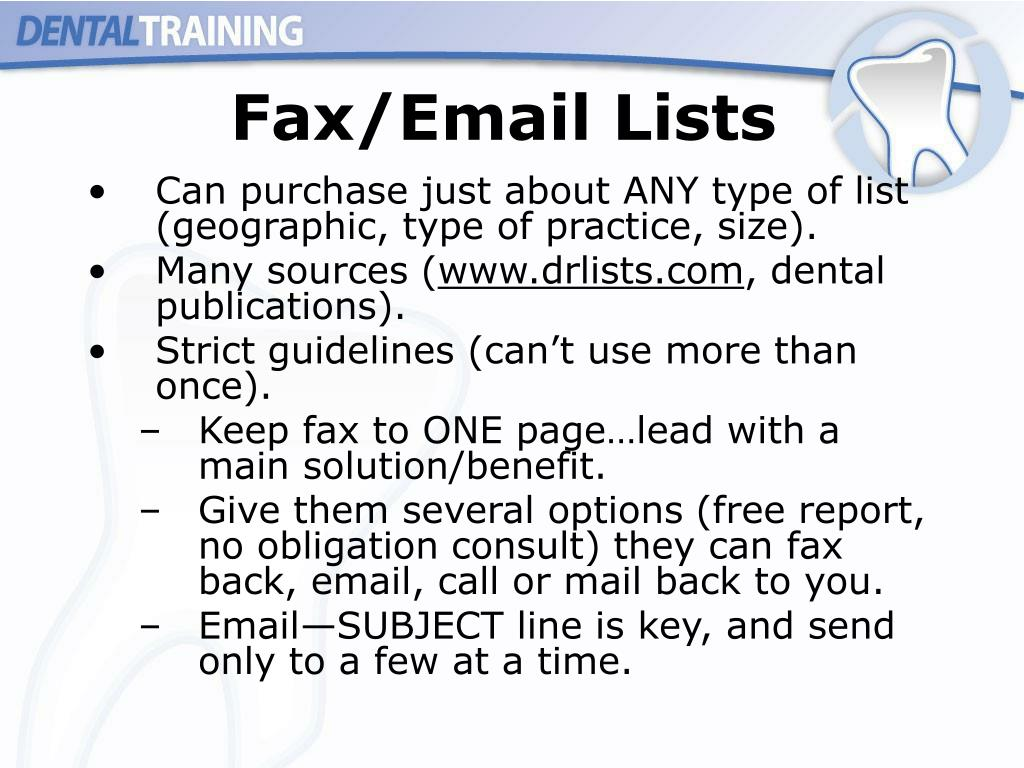 Fax/Email Lists