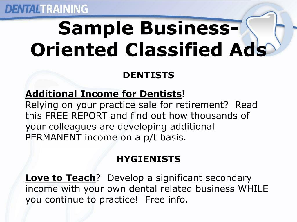 Sample Business- Oriented Classified Ads