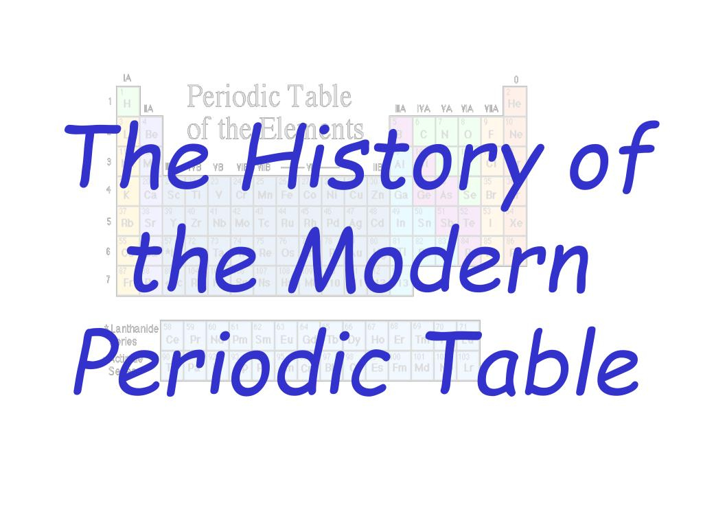the history of the modern periodic table l.