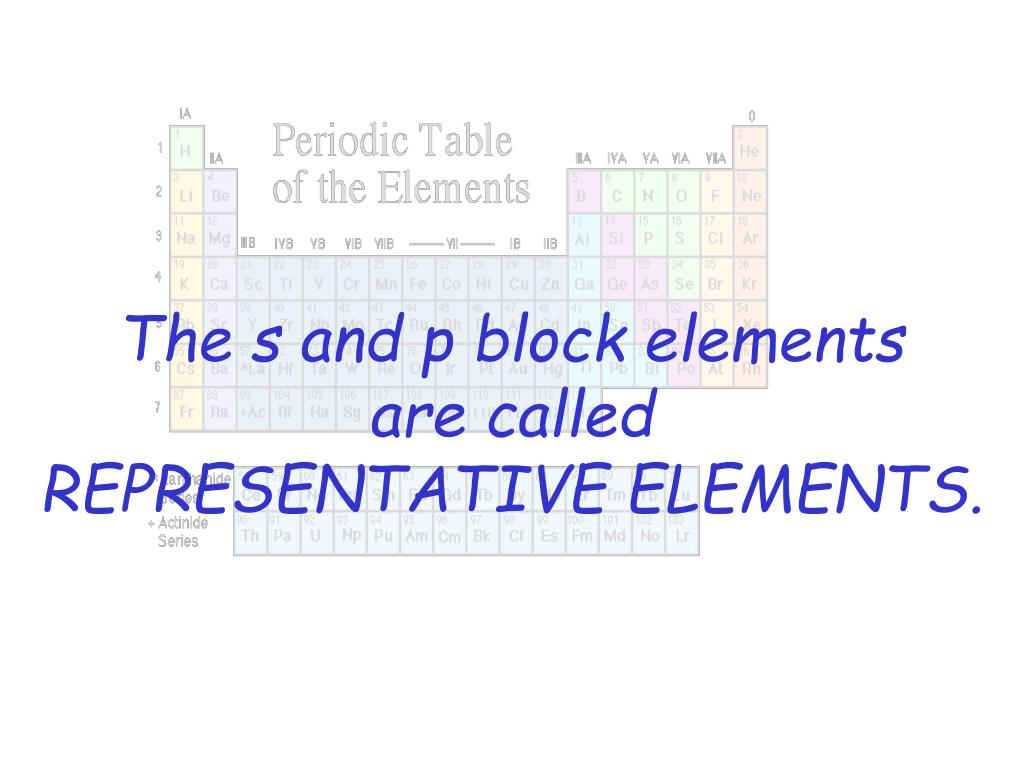 The s and p block elements