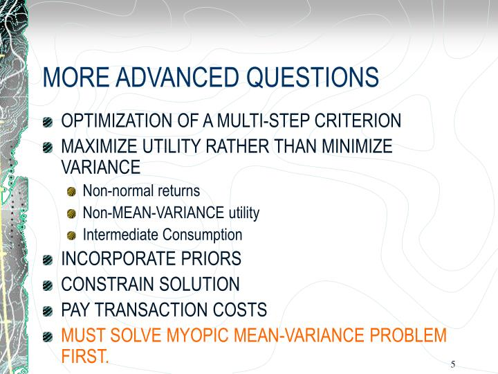 mean variance optimization stimulation approach essay Markowitz's celebrated mean-variance portfolio optimization theory assumes illustrated in simulation and empirical studies new approach that generalizes markowitz's portfolio theory to the case where the means and.