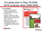 the global plan to stop tb 2006 2015 progress report 2006 2008
