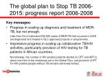 the global plan to stop tb 2006 2015 progress report 2006 20081