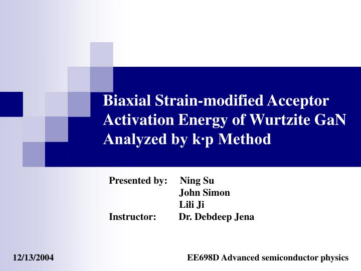 biaxial strain modified acceptor activation energy of wurtzite gan analyzed by k p method n.