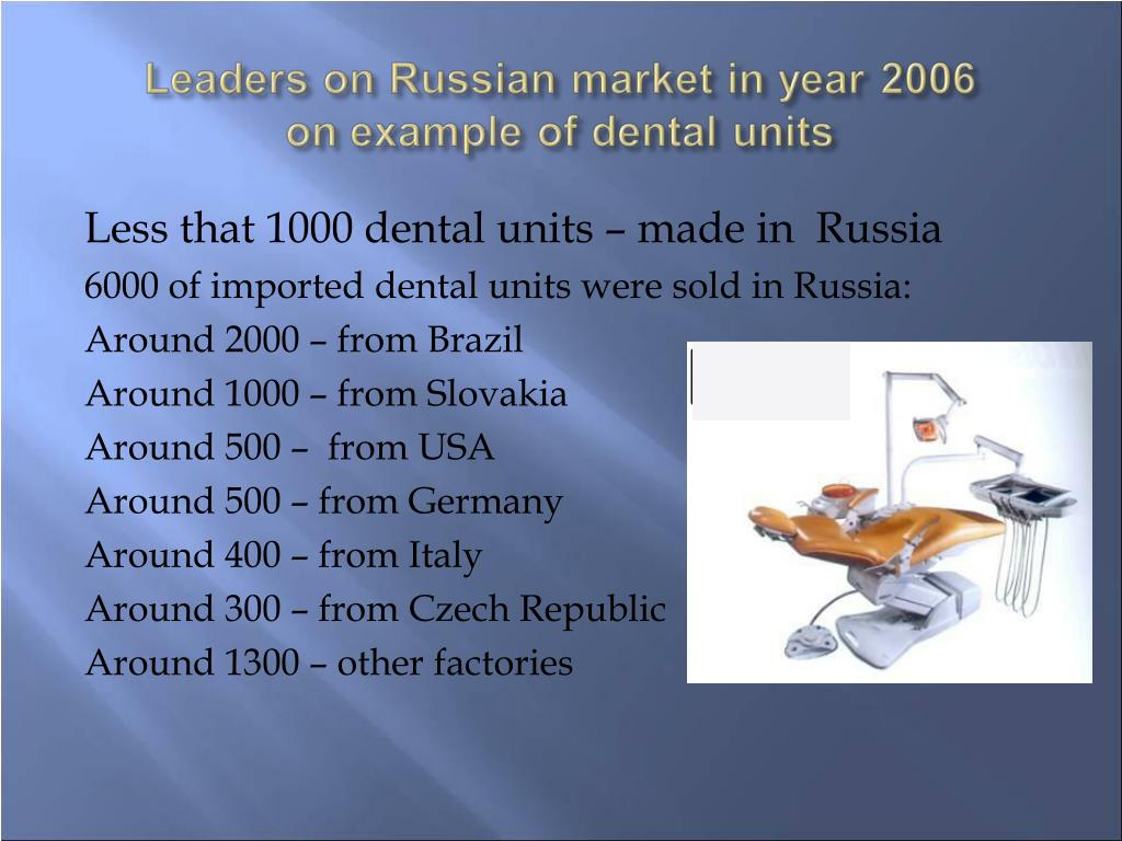 Less that 1000 dental units – made in  Russia