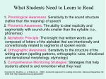 what students need to learn to read