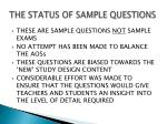 the status of sample questions