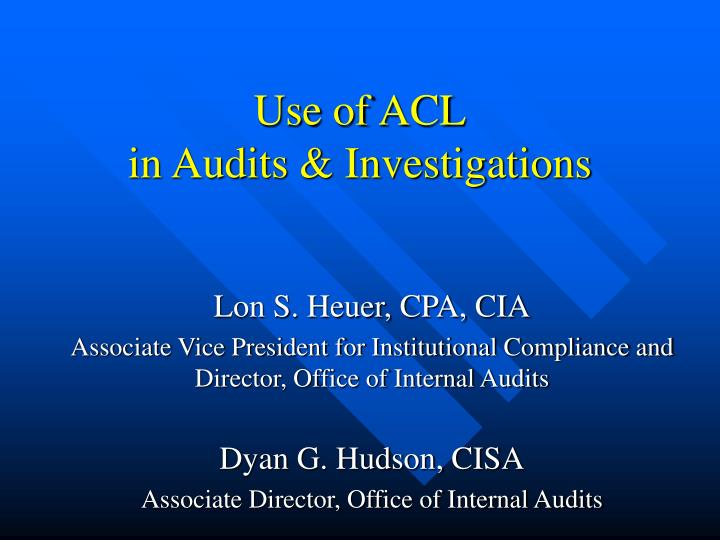 use of acl in audits investigations n.