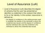 level of assurance loa