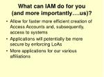 what can iam do for you and more importantly us