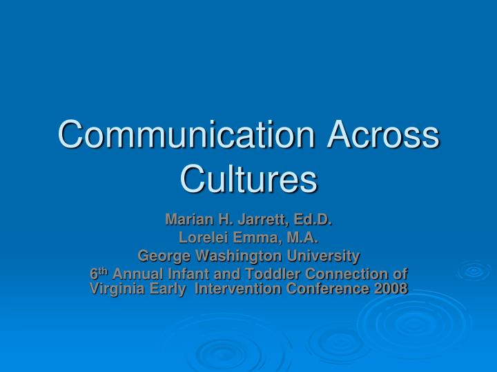 communication across cultures n.