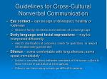 guidelines for cross cultural nonverbal communication