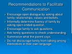 recommendations to facilitate communication