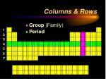 columns rows