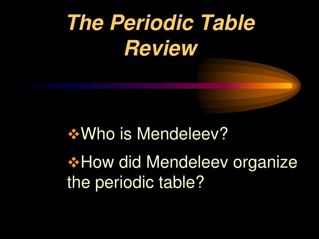 the periodic table review l.