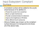 input subsystem compliant surface