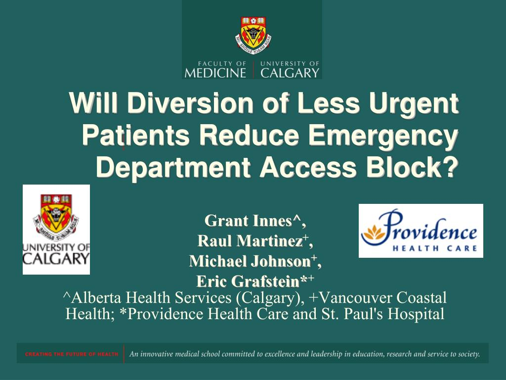 will diversion of less urgent patients reduce emergency department access block l.